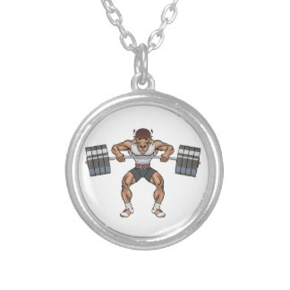 bison weight lifter silver plated necklace