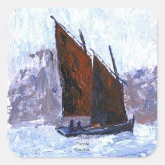Bisquine Sail Boat Square Sticker