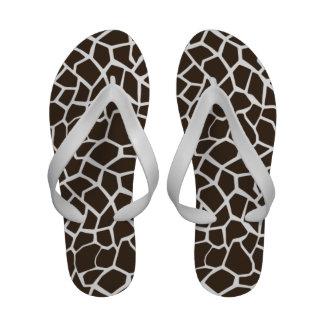 Bistre Brown Giraffe Animal Print Flip-Flops