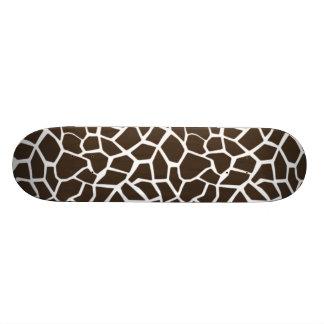 Bistre Brown Giraffe Animal Print Skateboard Deck
