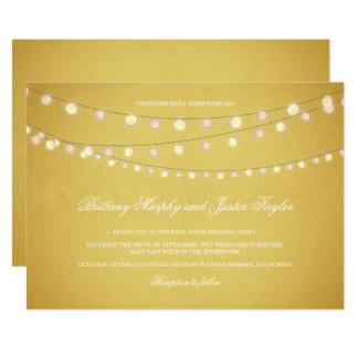 Bistro Lights Gold Evening Outdoor Wedding Card