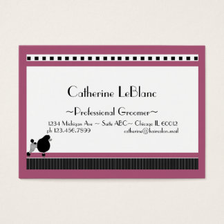 Bistro Poodle in Black White and Pink Business Card