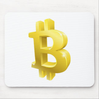 Bitcoin 3d Gold Sign Symbol Mouse Pad