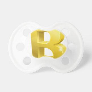 Bitcoin 3d Gold Sign Symbol Pacifier