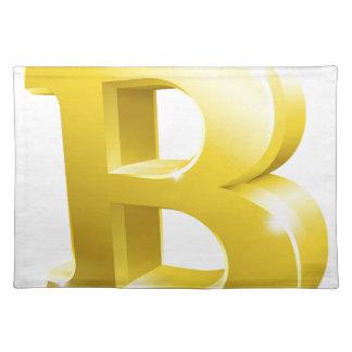 Bitcoin 3d Gold Sign Symbol Placemat