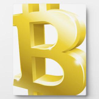 Bitcoin 3d Gold Sign Symbol Plaque