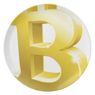Bitcoin 3d Gold Sign Symbol Plate