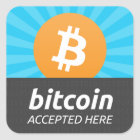 """Bitcoin accepted here"" sticker"