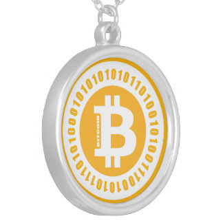 Bitcoin Alphanumeric Numbers Silver Plated Necklace