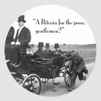 Bitcoin Beggar Classic Round Sticker