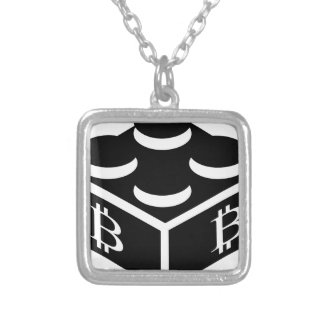 Bitcoin Block / Blockchain Silver Plated Necklace