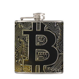 Bitcoin Coins Hip Flask