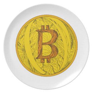 Bitcoin Doodle Art Plate