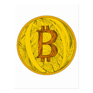 Bitcoin Doodle Art Postcard