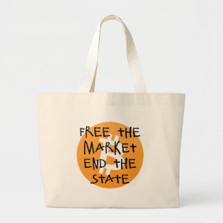 Bitcoin - Free the Market End the State Large Tote Bag