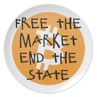 Bitcoin - Free the Market End the State Plate