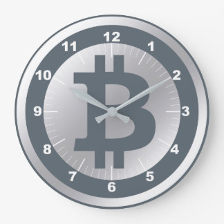 Bitcoin logo graphics business, office wall large clock