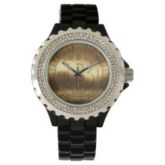 Bitcoin Logo Symbol Black Rhinestone Wrist Watch
