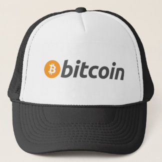 Bitcoin logo writing trucker hat