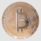 Bitcoin metallic made of to copper. M1 Classic Round Sticker