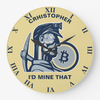 Bitcoin Mining Cryptocurrency Funny Cool Vintage Large Clock