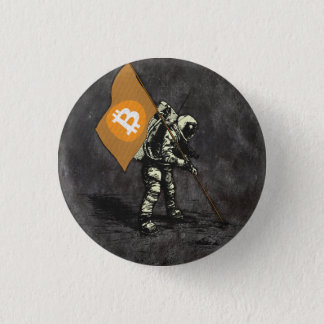 Bitcoin Moon Flag 1 Inch Round Button