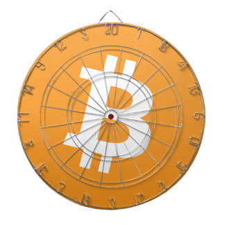 Bitcoin orange and white logo on dartboard