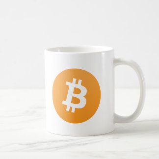 Bitcoin original orange and white logo with text coffee mug