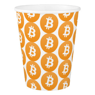 Bitcoin party cup with orange and white logo