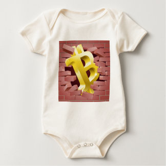 Bitcoin Sign Breaking Through Wall Concept Baby Bodysuit
