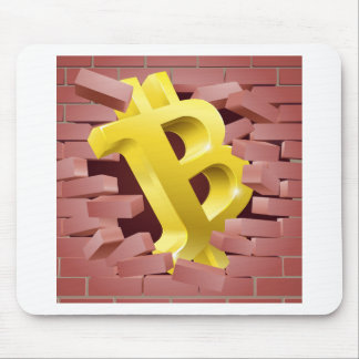 Bitcoin Sign Breaking Through Wall Concept Mouse Pad