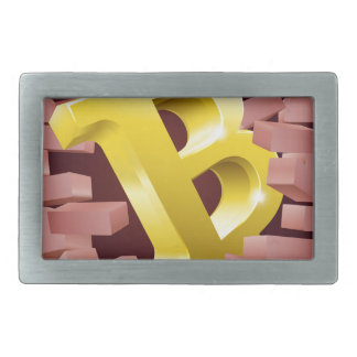 Bitcoin Sign Breaking Through Wall Concept Rectangular Belt Buckle