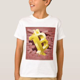 Bitcoin Sign Breaking Through Wall Concept T-Shirt