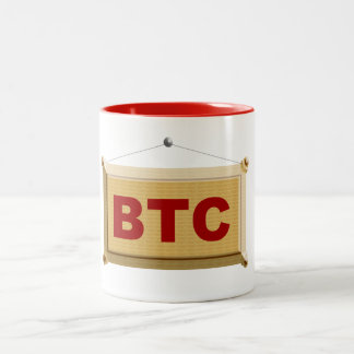 bitcoin sign wood Two-Tone coffee mug