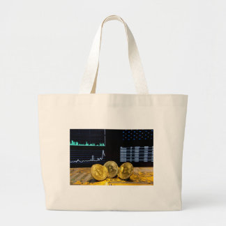 Bitcoin trio circuit market charts clean large tote bag