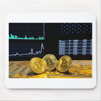 Bitcoin trio circuit market charts clean mouse pad