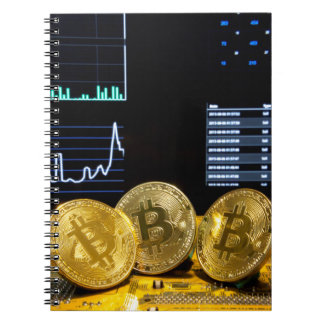 Bitcoin trio circuit market charts clean notebook