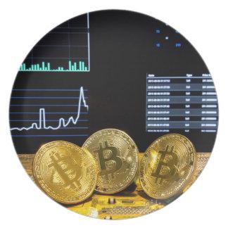 Bitcoin trio circuit market charts clean plate
