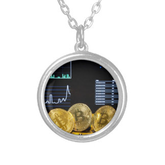 Bitcoin trio circuit market charts clean silver plated necklace