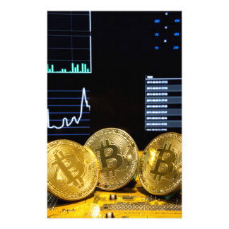 Bitcoin trio circuit market charts clean stationery