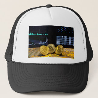 Bitcoin trio circuit market charts clean trucker hat