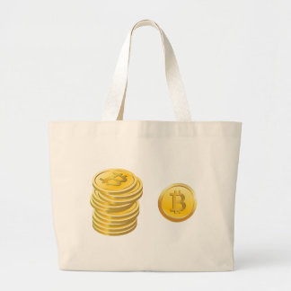 Bitcoins Stacked Large Tote Bag