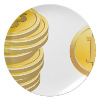 Bitcoins Stacked Plate