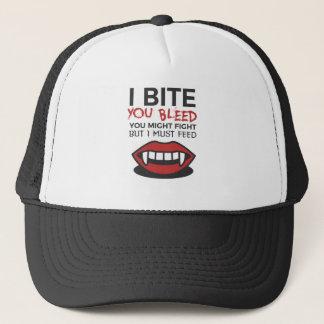 Bite Bleed Fight Feed Halloween Design Trucker Hat