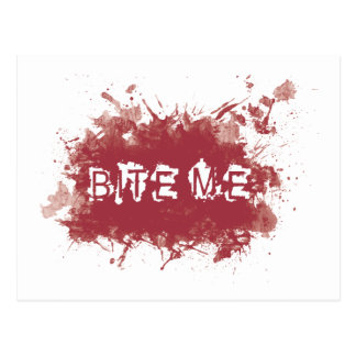 Bite me blood stain postcard