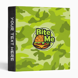 Bite Me bright green camo camouflage Vinyl Binder