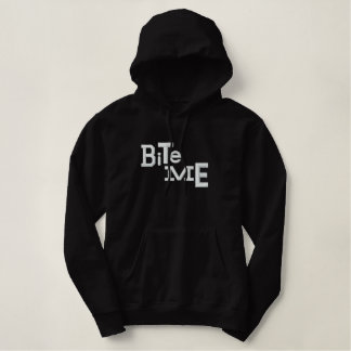 BITE ME Eclectic Halloween Embroidery Hoodie