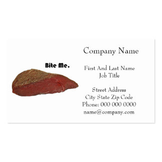 Bite Me Funny Steak Beef Pun Joke Pack Of Standard Business Cards