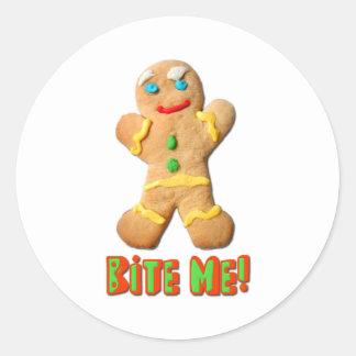 Bite Me Gingerbread Man Round Sticker