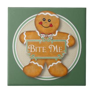 Bite Me Gingerbread Man Tile